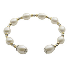 Cultured Freshwater Rice Pearl & 2-Tone Brilliance Bead Coil Bracelet