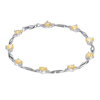 Genuine Citrine Heart-Shaped Sterling Silver Bracelet