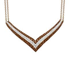 Brown & White Crystal 14K Rose Gold Over Sterling Silver V-Necklace