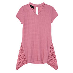 by&by girl Crew Neck Short Sleeve Cap Sleeve Blouse - Big Kid Girls