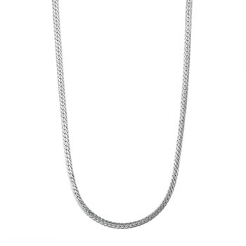 "14K White Gold 18-24"" 4mm Hollow Herringbone Chain Necklace"