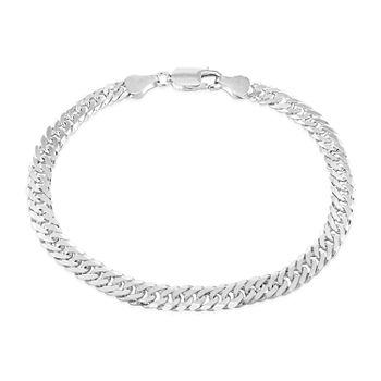 Made in Italy Sterling Silver 7.5 Inch Solid Curb Chain Bracelet