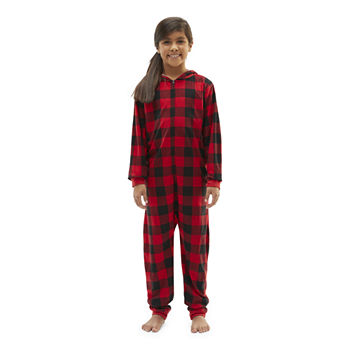 North Pole Trading Co. Buffalo Plaid Little & Big Unisex Knit Long Sleeve One Piece Pajama