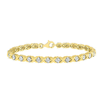 1/10 CT. T.W. Genuine Diamond 14K Gold Over Silver 7.5 Inch Tennis Bracelet