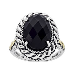 Shey Couture Sterling Silver and 14K Gold Genuine Onyx Ring