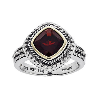 Shey Couture Genuine Garnet Sterling Silver and 14K Yellow Gold Cushion Ring