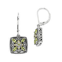 Shey Couture Genuine Peridot and Diamond-Accent Sterling Silver Earrings