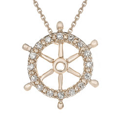 Diamond-Accent 10K Rose Gold Ship Wheel Mini Pendant Necklace