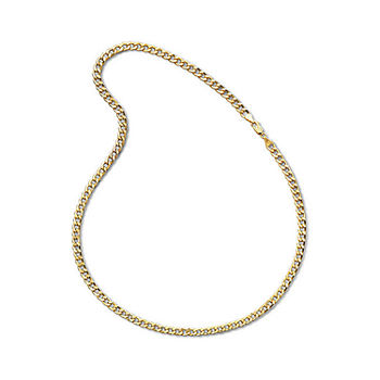 "Made In Italy Mens 10K Yellow Gold 22"" 6mm Semi-Solid Curb Chain Necklace"