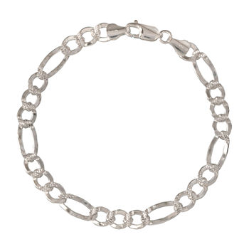 Made in Italy Sterling Silver 8 1/2 Inch Solid Figaro Chain Bracelet