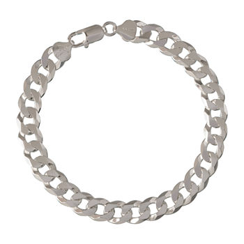 Made in Italy Sterling Silver 9 Inch Solid Curb Chain Bracelet