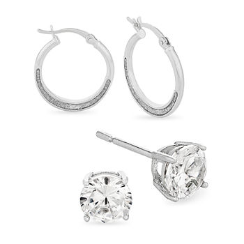 DiamonArt® 2 3/4 CT. T.W. White Cubic Zirconia Sterling Silver Round 2 Pair Jewelry Set