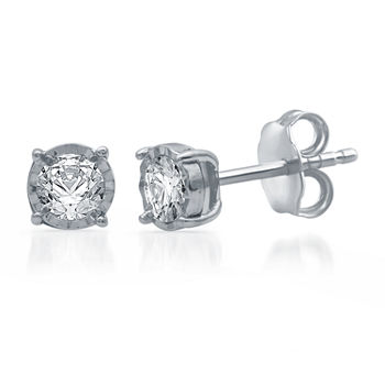 1/3 CT. T.W. Genuine White Diamond 10K White Gold 5.3mm Stud Earrings