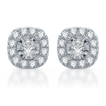 1 CT. T.W. Genuine White Diamond 10K White Gold Stud Earrings