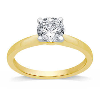 Ever Star Womens 1 CT. T.W. Lab Grown White Diamond 10K Gold Round Solitaire Engagement Ring