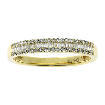Womens 1/4 CT. T.W. Genuine White Diamond 10K Gold Wedding Stackable Ring