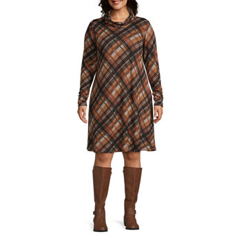 R & K Originals-Plus Long Sleeve Plaid Shift Dress With Removable Infinity Scarf
