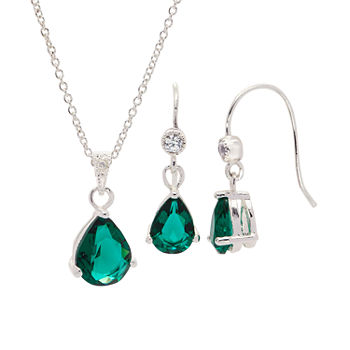 Sparkle Allure 3-pc. Cubic Zirconia Pure Silver Over Brass Emerald Pear Jewelry Set
