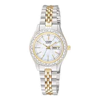Citizen Quartz Womens Crystal Accent Two Tone Bracelet Watch - Eq0534-50d