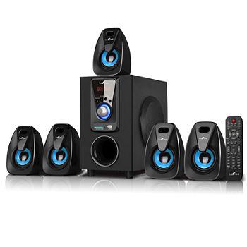 beFree Sound 5 1 Channel Surround Sound Bluetooth Speaker System- Blue