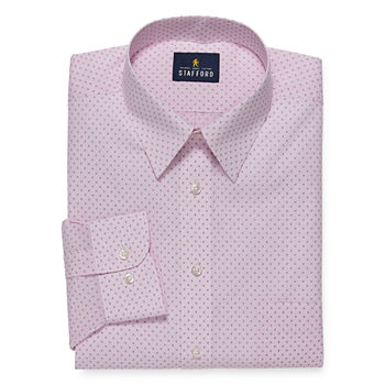 Stafford Mens Wrinkle Free Stain Resistant Stretch Super Dress Shirt