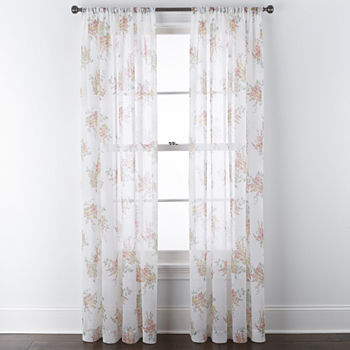 Home Expressions Crushed Voile Sheer Rod-Pocket Single Curtain Panel