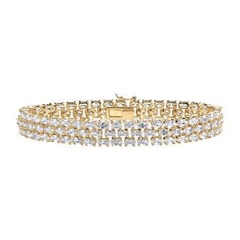 DiamonArt® White Cubic Zirconia 18K Gold Over Brass 8 1/2 Inch Tennis Bracelet