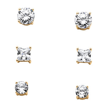 DiamonArt® White Cubic Zirconia 14K Gold Over Silver 8mm Stud Earrings
