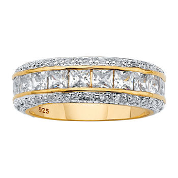 DiamonArt® 7MM 4 1/4 CT. T.W. White Cubic Zirconia 14K Gold Over Silver Band