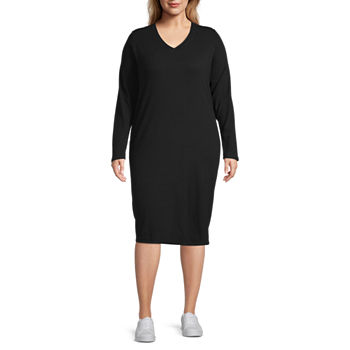 Stylus Long Sleeve Midi T-Shirt Dress - Plus