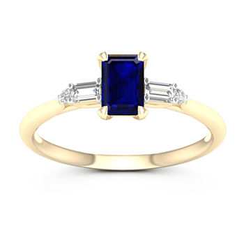 Womens Genuine Blue Sapphire 10K Gold Promise Ring
