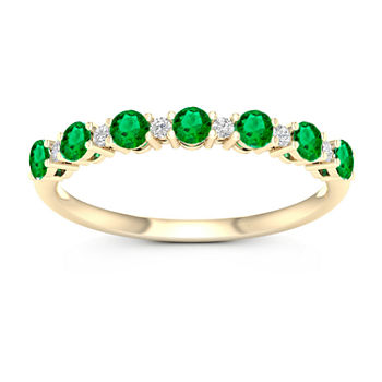 Genuine Green Emerald 10K Gold Band