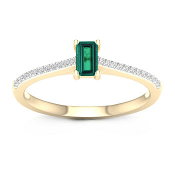 Womens Genuine Green Emerald 10K Gold Promise Ring