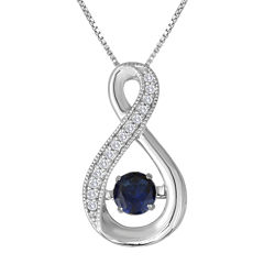 Love in Motion™ Lab-Created Blue and White Sapphire Pendant Necklace