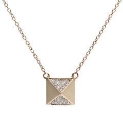 1/10 CT. T.W. Diamond 10K Rose Gold Pyramid Necklace