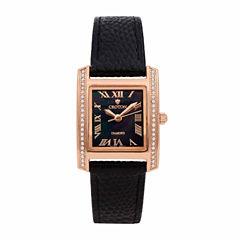 Croton Womens Black Strap Watch-Cn207057rgbk