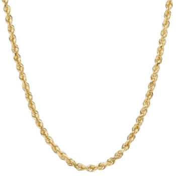 14k Yellow Gold  Hollow Glitter Rope Chain