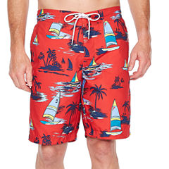 St. John's Bay Red Sailboat Swim Shorts