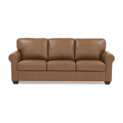 Leather Possibilities Quick Ship Roll Arm Sofa