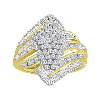 1 CT. T.W. Diamond Cluster 14K Yellow Gold Over Sterling Silver Ring