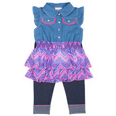 Little Lass Girls Denim To Chiffon Ruffle Legging Set
