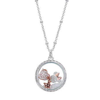 Disney Minnie Mouse Silver Over Brass Crystal 16 Inch Link Pendant Necklace
