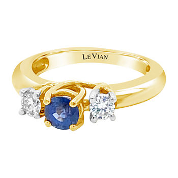 LIMITED QUANTITIES! Le Vian Grand Sample Sale™ Ring featuring Cornflower Ceylon Sapphire™ 1/3 CT. T.W. Vanilla Diamonds® set in 14K Honey Gold™