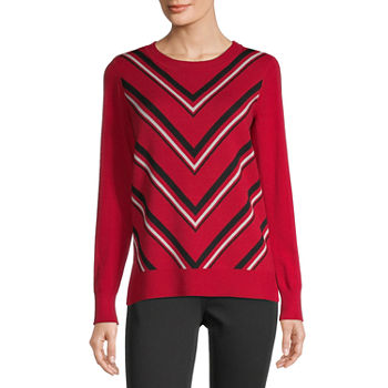 Liz Claiborne-Tall Womens Crew Neck Long Sleeve Chevron Pullover Sweater