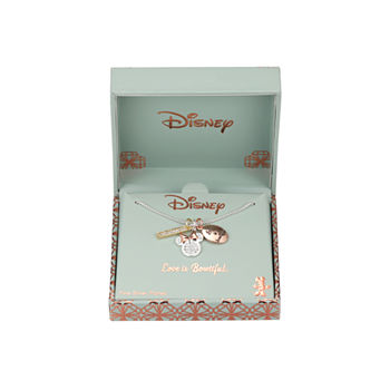 Disney Minnie Mouse Crystal Pure Silver Over Brass 18 Inch Box Pendant Necklace