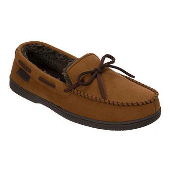 5ae03ca4a8221 Dearfoams® Wide Width Microsuede Moccasin Slipper with Tie