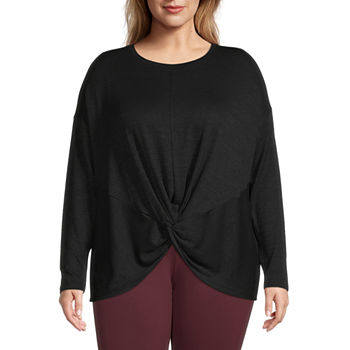Stylus Twist Front Womens Plus Round Neck Long Sleeve T-Shirt