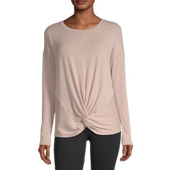 Stylus Twist Front Womens Round Neck Long Sleeve T-Shirt