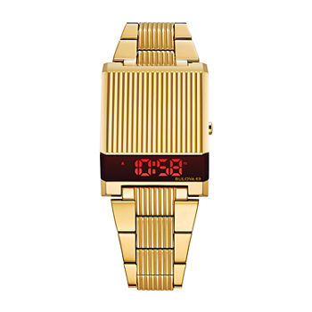 Bulova Computron Mens Digital Gold Tone Stainless Steel Bracelet Watch - 97c110