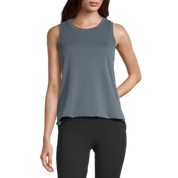Stylus Shirttail Womens Crew Neck Sleeveless Tank Top